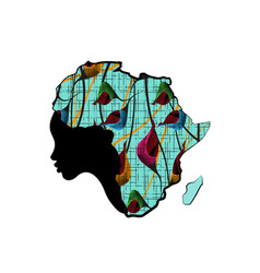 concept african woman face profile silhouette vector image