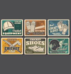 Cricket equipment championship posters vector