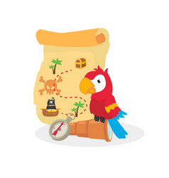Cute animal with pirate map vector
