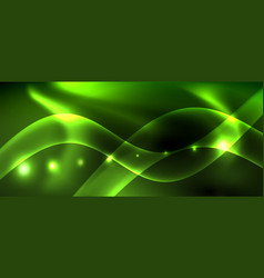 dark background with neon color waves vector image