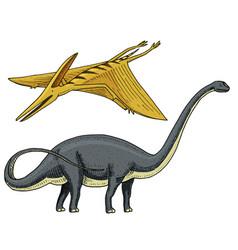 dinosaur brachiosaurus or sauropod plateosaurus vector image