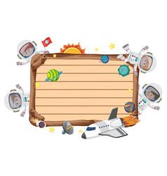 Empty wooden board with astronaut kids cartoon vector