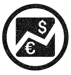 Euro dollar chart rounded icon rubber stamp vector