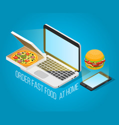 fast food order at home isometric concept vector image