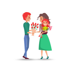 Father gives bouquet of flowers for wife daughter vector