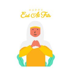 Flat hijab women character for celebrate vector