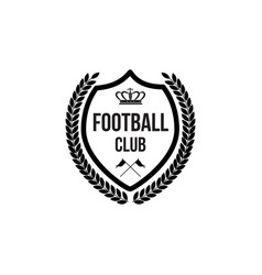 football club badge icon with crown symbol and vector image