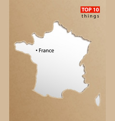 france map on craft paper texture template vector image