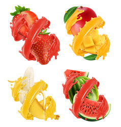 fruits and berries in splash of juice mango vector image
