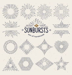 Geometric hand drawn sunburst sun beams in vector