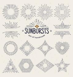 geometric hand drawn sunburst sun beams vector image
