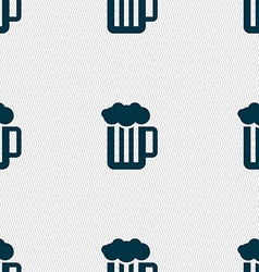 Glass of beer with foam icon sign Seamless pattern vector