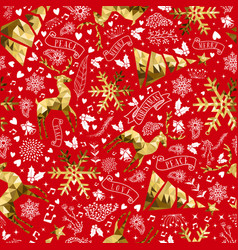 Gold and red reindeer christmas seamless pattern vector