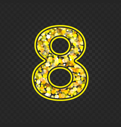 Gold glittering number 8 vector