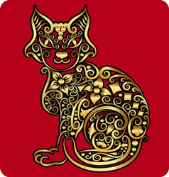 Golden cat ornament vector image