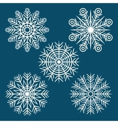graphic winter set of snowflakes vector image