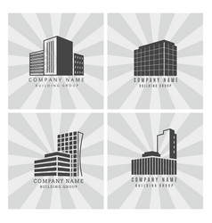 grey real estate construction business logo set vector image