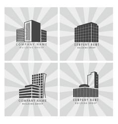 Grey real estate construction business logo set vector