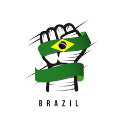 hand and flag brazil template design vector image
