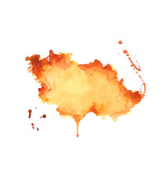 hand drawn orange watercolor stain texture vector image