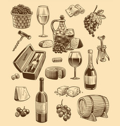 hand drawn wine set engraving images of vector image