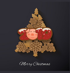 Happy new year and merrt christmas greeting card vector