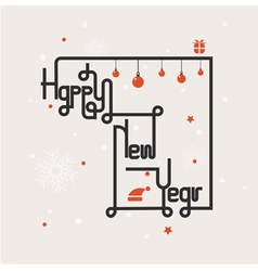 Happy new year lettering abstract background vector image