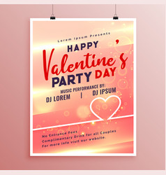 happy valentines day event flyer template design vector image