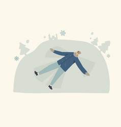Happy young smiling man character lying down on vector