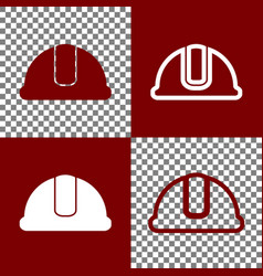 hardhat sign bordo and white icons and vector image