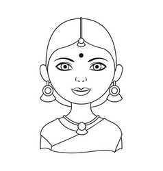 Hindu womanhuman race single icon in outline vector