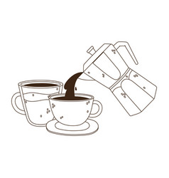 International day coffee kettle and cups vector