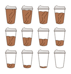 isolated set of 12 paper cups for coffee with a vector image