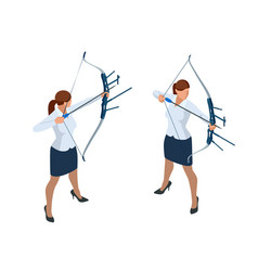 isometric business woman shooting a bow and arrow vector image