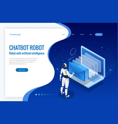 isometric robots man with artificial intelligence vector image