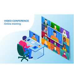 Isometric video conference online meeting work vector