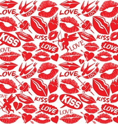 kiss and lips love concept pattern vector image