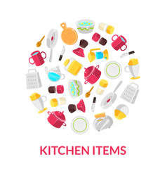 Kitchen items banner template with cooking vector