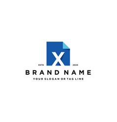 Letter x document logo design vector