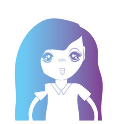 Line avatar girl with hairstyle and blouse vector