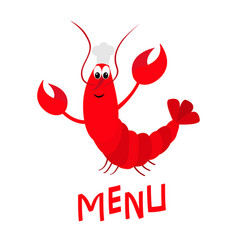 Lobster with claw chef hat cute cartoon character vector