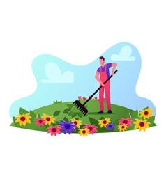 Male gardener wearing working overalls care of vector