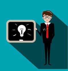 man with bulb on blackboard teacher or vector image