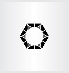 metal nut black hexagon logo symbol vector image