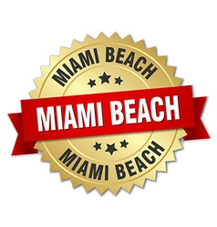 Miami Beach round golden badge with red ribbon vector