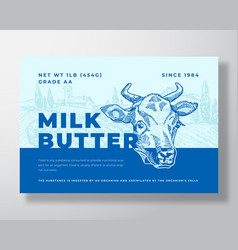 milk butter dairy food label template abstract vector image