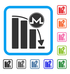 monero panic fall chart framed icon vector image