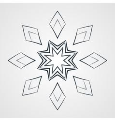 Monochrome flower mandala on a contrasting vector