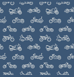 Monochrome seamless pattern with motorcycles of vector