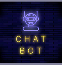 Neon chat bot artificial intelligence concept vector